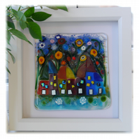 Wonky Cottage Row Fused Glass Picture Box Framed 002