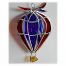 Hot Air Balloon Stained Glass Suncatcher 006 Red White and Blue