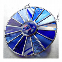 Winter Solstice Suncatcher Stained Glass Handmade Colour Wheel Blues 006