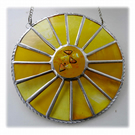 Sunny Yellow Suncatcher Stained Glass Handmade Colour Wheel 001