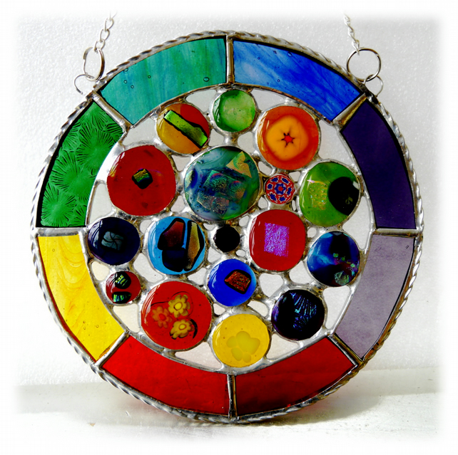 Rainbow Circles Suncatcher Stained Glass Handmade fused 018