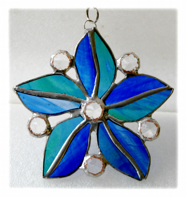 Crystal Star Flower Suncatcher Stained Glass 002 Blues