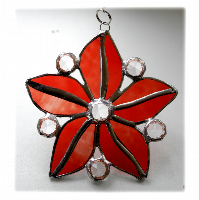 Crystal Star Flower Suncatcher Stained Glass 003 Rose Red