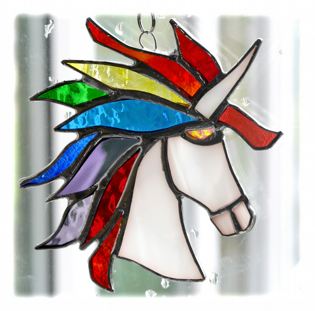 Unicorn Suncatcher Stained Glass Handmade 018 Rainbow