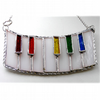 Piano Suncatcher Stained Glass Keyboard Keys Music Handmade 009