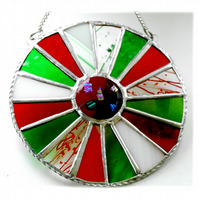 Festive Wheel Suncatcher Stained Glass Handmade 002