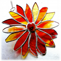 Autumn Flower Stained Glass Suncatcher Handmade 006