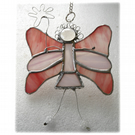 Fairy Angel Suncatcher Stained Glass Pink 024