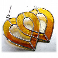 Entwined Heart Suncatcher Stained Glass Golden Wedding 017