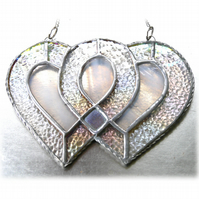 Entwined Heart Suncatcher Stained Glass Silver 25th Wedding 014