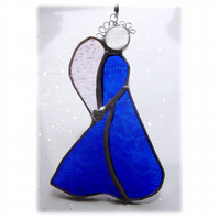 Angel Suncatcher Stained Glass Heart Blue Christmas 028