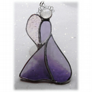 Angel Suncatcher Stained Glass Heart Purple Christmas 027