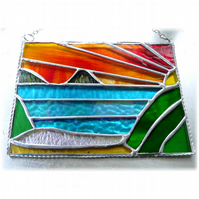 Sea View Panel Stained Glass Picture Landscape Sunset  005