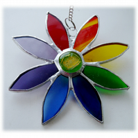 Rainbow Daisy Suncatcher Stained Glass Flower Dichroic 032 or 033