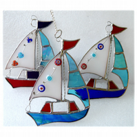 Boat Suncatcher Stained Glass Sailboat Yacht 069 070 or 071`