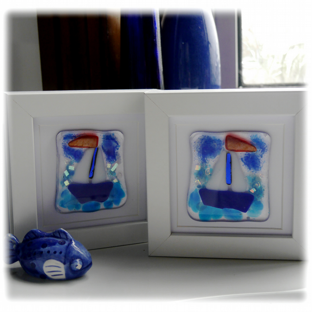 Sailboat Picture in Box Frame Fused Glass Picture 001 or 002