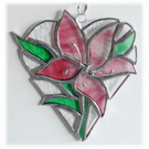 Lily Heart Suncatcher Stained Glass 010 Pink
