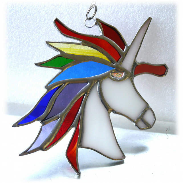 Unicorn Suncatcher Stained Glass Handmade 019 Rainbow