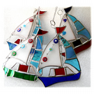 Boat Suncatcher Stained Glass Sailboat Yacht Red Blue Blue-green or  Green`