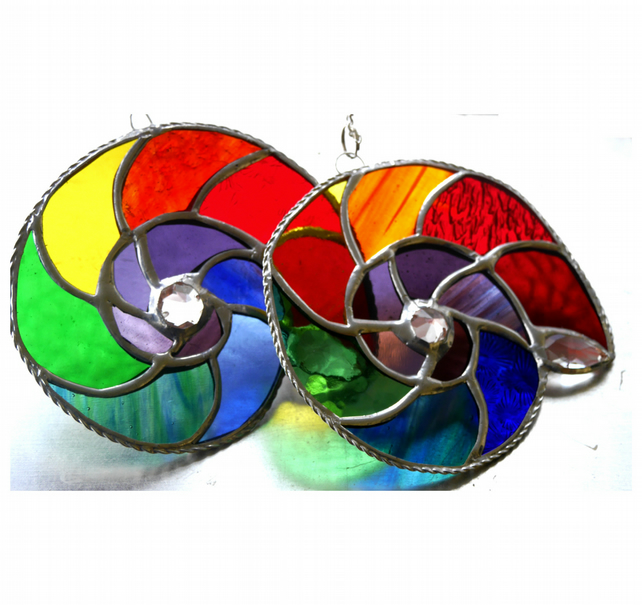 Ammonite Stained Glass Suncatcher Rainbow 016 and 017