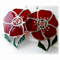 Poppy Suncatcher Stained Glass Handmade Red Flower 039 or 040
