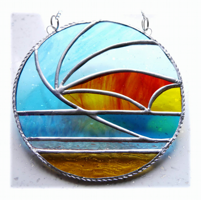 Sunset Waves Suncatcher Stained Glass 002