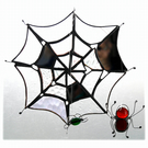 Spider's Web Suncatcher Stained Glass with Red Spider and Green Fly 039