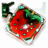 Apple Fused Glass Trinket Dish 3.5 inches Dichroic decorated