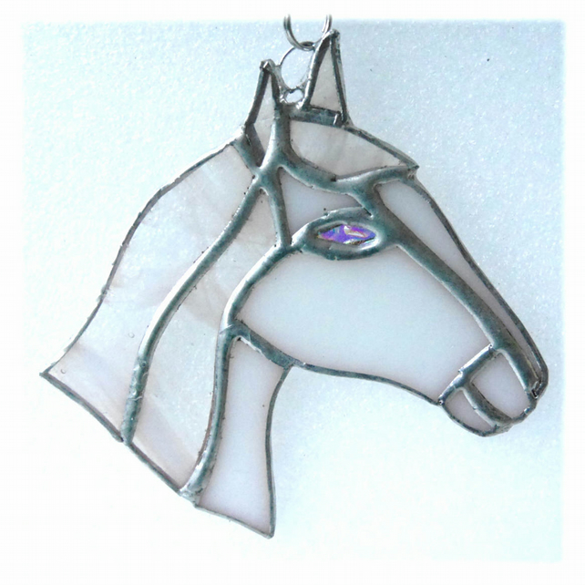 Horse Suncatcher Stained Glass Horsehead White 092