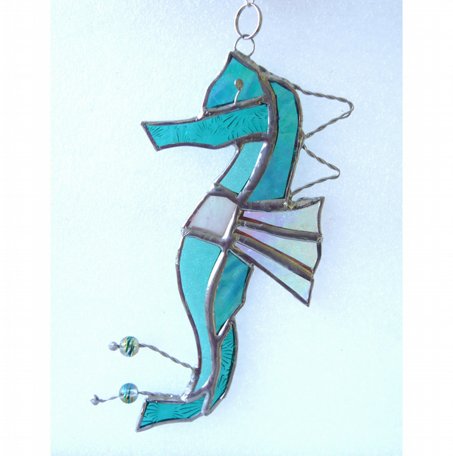 Seahorse Stained Glass Suncatcher Aqua Handmade 029