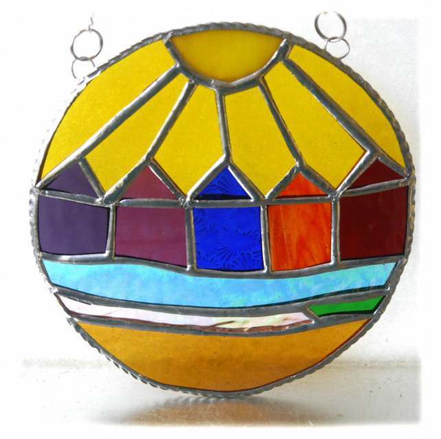 Beach Hut Ring Stained Glass Handmade Sunshine 006