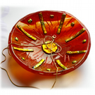 Fused Glass Bowl Round 12cm Red Gold Dichroic 045