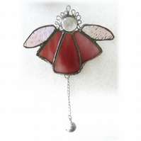 Angel Bell Suncatcher Stained Glass Pink 051