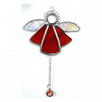 Angel Bell Suncatcher Stained Glass Red 047