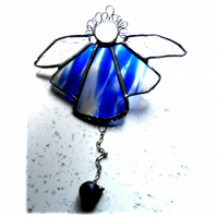 Angel Bell Suncatcher Stained Glass Blue 044