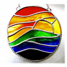 Rainbow Sunset Waves Stained Glass Suncatcher 008
