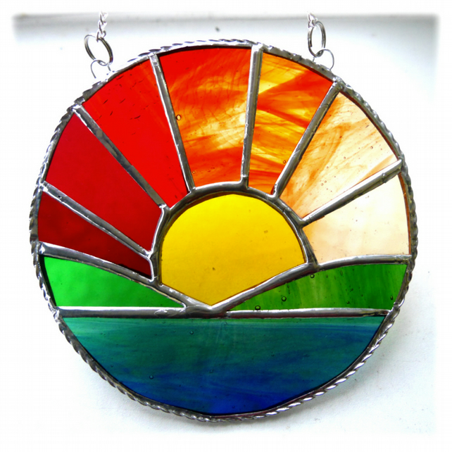Sunrise Picture Stained Glass Suncatcher Handmade Sun Ring 034