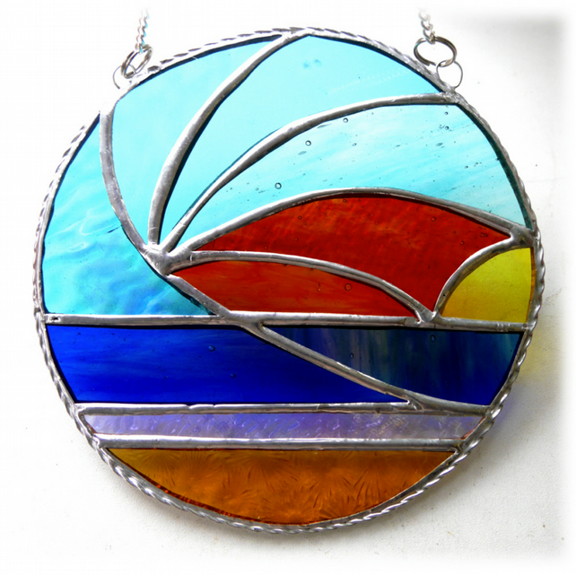 Sunset Waves Suncatcher Stained Glass 004