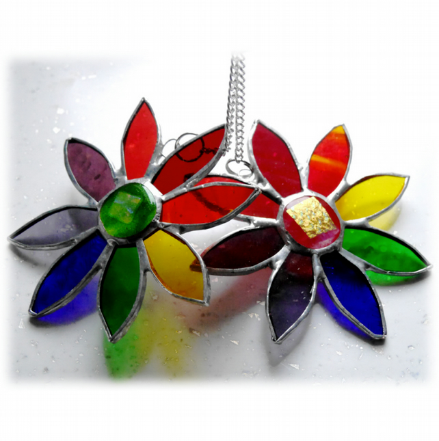 Rainbow Daisy Suncatcher Stained Glass Flower Dichroic 034