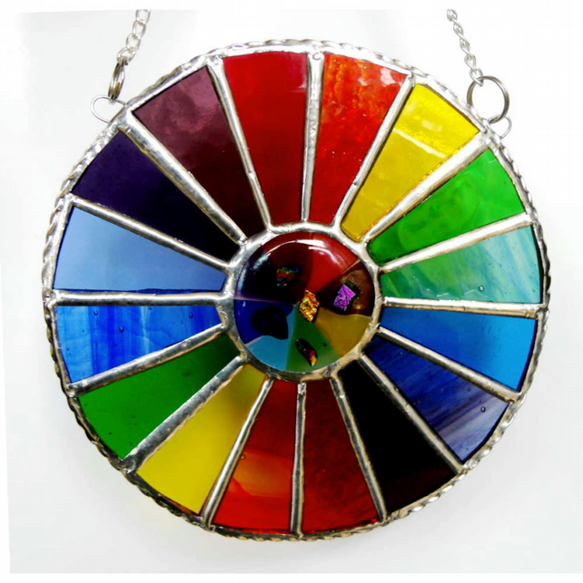 Summer Solstice Rainbow Burst Suncatcher Stained Glass Handmade 029