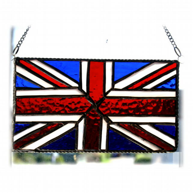 Union Jack Stained Glass Suncatcher Handmade British Flag