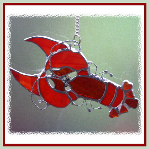 Lobster Stained Glass Suncatcher