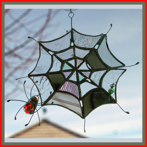 Spider Web Stained Glass Suncatcher Folksy