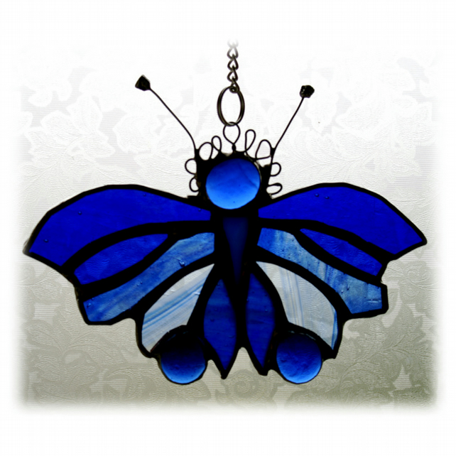 Butterfly Suncatcher Blue Stained Glass Bauble Handmade