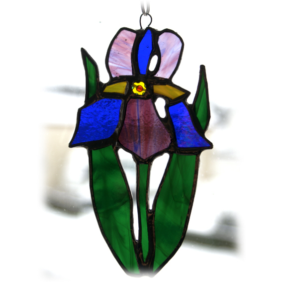 Iris Suncatcher Stained Glass Flower Purple Blue