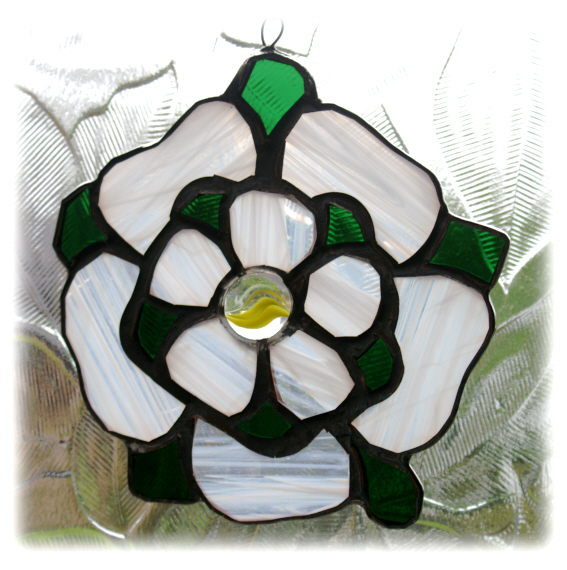 Yorkshire Rose Suncatcher Stained Glass White H Folksy