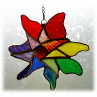 Pinwheel  Suncatcher Rainbow Stained Glass
