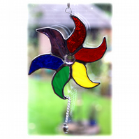 Star Stained Glass Suncatcher Rainbow Swirl