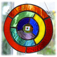 Rainbow Gold Stained Glass Suncatcher Ring