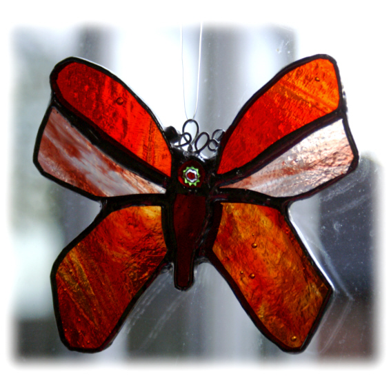 Butterfly Stained Glass Suncatcher Red Amber